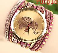 Женские Модные часы Часы-браслет Кварцевый Кожа Группа Черный Белый Синий Красный Фиолетовый