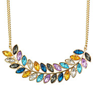 New Fashion Multicolors Rhinestone Long Leaf Necklace