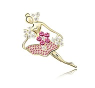 Special Korean Fashion Girl Created Diamond Jewelry Noble Female Ballet Girl Brooch Badge Corsage