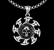 Maya Fashion Generous Ferris Wheel Skull Man Stainless Steel Pendant Necklace(Gray)(1Pcs)