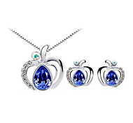 Jewelry Set Elegant Crystal Apple Pendant Necklace Earrings Girlfriend Gift