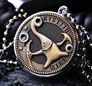 Unisex Round Dial Personality Pattern Retro Cartoon Fashion Quartz Necklace Watch Pocket Watch