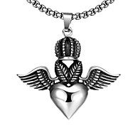 Maya Fashion Generous Heart-Drop with Wings of Angel Man Stainless Steel Pendant Necklace(Gray)(1Pcs)