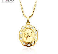 Europe Maid Face Pendant For Women/Men Jewelry 18K Gold Plated White Crystal New Trendy Pendants Wholesale P30131