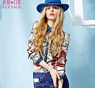 ELFSACK Women's Shirt Collar Long Sleeve Shirt & Blouse Red - 1344100