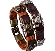 Skull Lines Knited Cutting Band Couple Leather Bracelets 1pc
