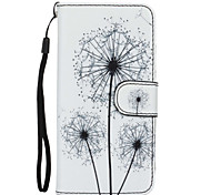 The New Black Dandelion Pattern Lanyard Card Holder Leather for iPhone 6/6S