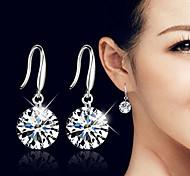 Women's Fashion Silver Plated Cute Crystal Shiny White Zircon Earrings