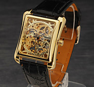 Men Mechanical Hand-Wind Classic Skeleton Carving Dial Leather Strap Wristwatch
