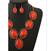 MPL European retro Crystal Gem Diamond Necklace Earrings Set