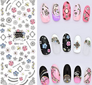 Big Page Water Transfer Printing Sketch Frame Flower Nail Stickers