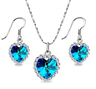 Bridal Jewelry the Heart of Ocean Blue Austrian Crystal Necklace and Earrings Jewelry Set for Lover