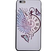 TPU caja del reloj negro del modelo de mariposa suave caja del teléfono para el iphone 6 / 6s
