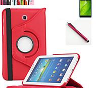 neue 360 drehende PU-Leder Standplatz Fall Abdeckung für Samsung Galaxy Tab Tab 3 7.0 P3200 t210 Tablette + Stylus + Film