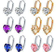 6 Colors Allergy Free Gold Plated Women Stud Earrings European Style Luxury Zircon Insert Heart Earrings