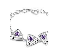 Korean-style Romantic Purple Crystal Triangle Chain Bracelet Women's Silver Plated Bracelet(Color:Silver)