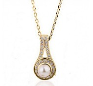 Women Necklace ELegant Crystal Pearl Drop Pendant Necklace(Assorted Color)