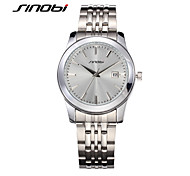 SINOBI Men's Wrist watch Calendar Water Resistant / Water Proof Sport Watch Quartz Alloy Band Silver
