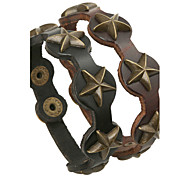Vingtage Bronze Star Rivets Leather Bracelets