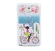 Bicycle Girl Painted Quicksand PC Phone Case For Samsung Galaxy Note3/Note4/Note5 + A Touch Screen Pen
