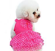 Perros Vestidos Rojo / Azul / Rosado / Amarillo Verano / Primavera/Otoño Lazo / Lunares Moda