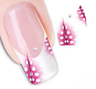 Water Transfer Printing Red Feathers Nail Stickers