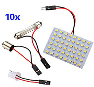 10 pcs 3528 LED SMD panneau 48 blanc chaud led + t10 / module BA9S + double pointe (dc 12v)