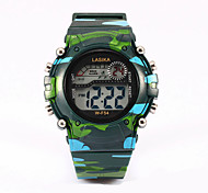 Three color digital watches, camouflage table, water activity, watch