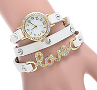 Women's Fashion Watch Three Times Winding LOVE Diamond Ladies Bracelet Watch Cool Watches Unique Watches