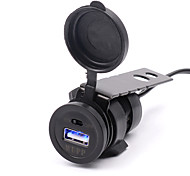 Black Waterproof Motorcycle USB Charger with Switch Mobile Phone Car Charger Power Adapter