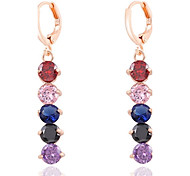6 Colors Allergy Free Silver Plated Women Drop Earrings European Style Luxury Zircon Insert Long Earrings