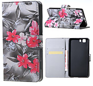 Red Flower  Magnetic PU Leather wallet Flip Stand Case cover for DOOGEE X5