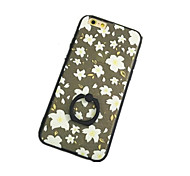 weißen Blumenmuster mit Handring zurück Fall für iPhone 6