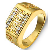 Retro Men Jewelry Great Wall Pattern Hollow Engraving Copper Men's Rings with Diamonds