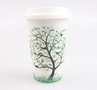 quatre saisons arbre élégance tasse en céramique avec couvercle et couvercle de protection en silicone motif aléatoire