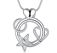 Fashion Romantic Star and Love Heart Pendant Necklace Women's Silver Palted Necklace with Chain(Color:Silver)