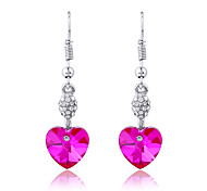 Luxury Drop Earrings for Women Clean Crystal Heart Earrings Fashion Jewelry Accessories Silver Plated(Assoeted Color)
