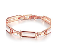 Sweet Fashion Women's Rectangle Opal Rose Gold Plated Tin Alloy Chain & Link Bracelet(Rose Gold)(1Pc)