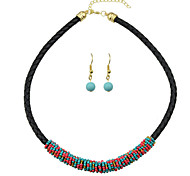 Pu Leather Beads Statement Jewelry Sets