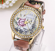 Ladies' Watch Paris tower Rose Dial Printing Belt Lady Watch