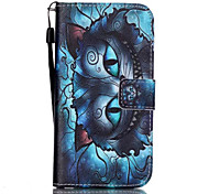 Strange Cat Face Pattern PU Material Card Lanyard Case for Samsung Galaxy S7/S7Edge