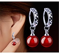 925 Sterling Silver Earrings natural red agate