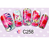 64sheets  Mixed Cartoon Flower Water Transfer Sticker Nail Art Beautiful DIY STZ064