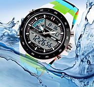 Masculino Relógio de Pulso Quartzo Quartzo Japonês LED Calendário Cronógrafo Impermeável Dois Fusos Horários Silicone Banda LuxuosoCores