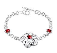 Korean-style Romantic Red Crystal Flower Bracelet Women's Silver Plated Wristband Bracelet(Color:Silver)