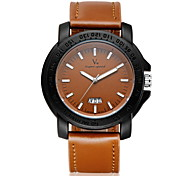 Men's Fashion Black Case Leather Band Quartz Watch