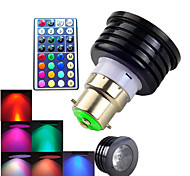 4W B22 Focos LED MR16 1 LED de Alta Potencia 300 lm RGB Regulable / Control Remoto / Decorativa AC 100-240 V 1 pieza