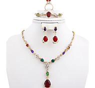 May polly Hot water droplets are crystal necklace earrings bracelet ring set dinner