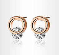 Allergy Free Gold Plated Women Stud Earrings European Style Luxury Zircon Insert Clean Circle Earrings