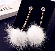 Korean version of the cute plush single spherical pendant earrings alloy earrings